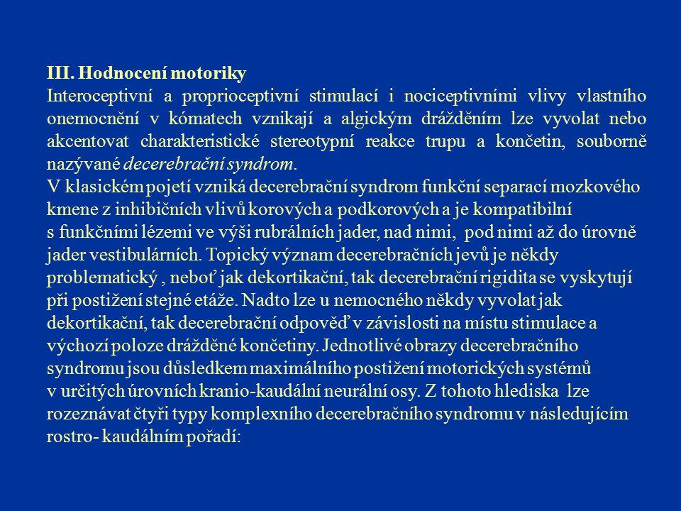III. Hodnocení motoriky Interoceptivní a proprioceptivní stimulací i nociceptivními vlivy vlastního onemocnění v kómatech vznikají a algickým dráždění