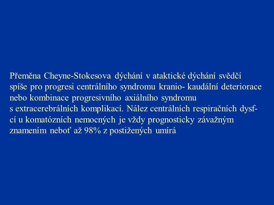 Přeměna Cheyne-Stokesova dýchání v ataktické dýchání svědčí spíše pro progresi centrálního syndromu kranio- kaudální deteriorace nebo kombinace progre