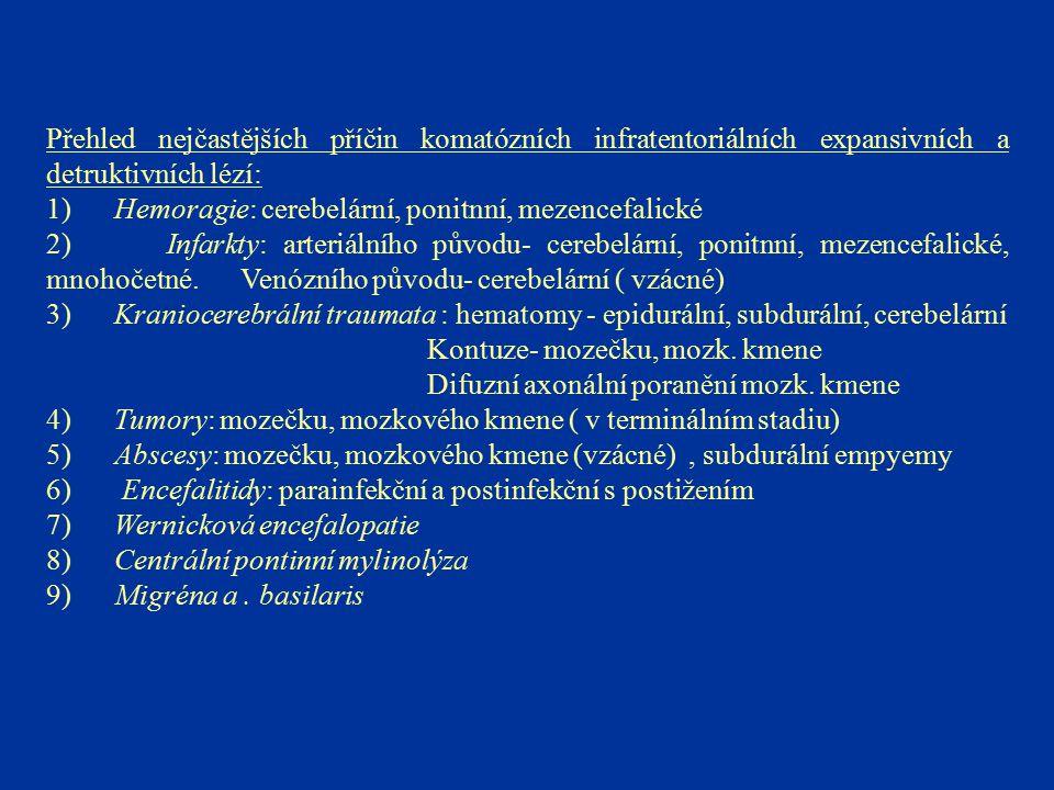 Přehled nejčastějších příčin komatózních infratentoriálních expansivních a detruktivních lézí: 1) Hemoragie: cerebelární, ponitnní, mezencefalické 2)