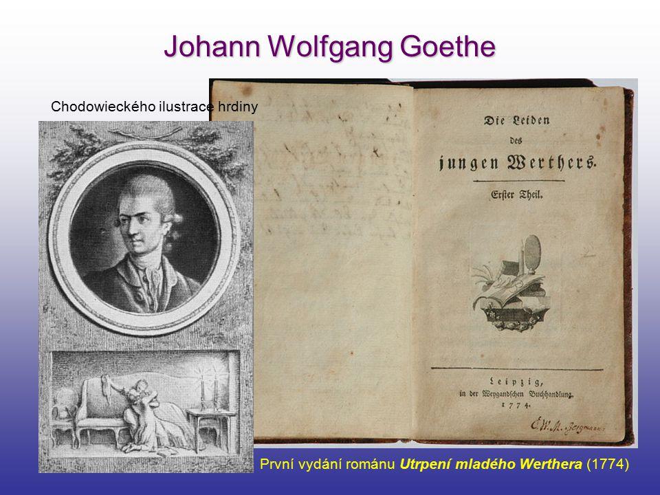 Johann Wolfgang Goethe První vydání románu Utrpení mladého Werthera (1774) Chodowieckého ilustrace hrdiny