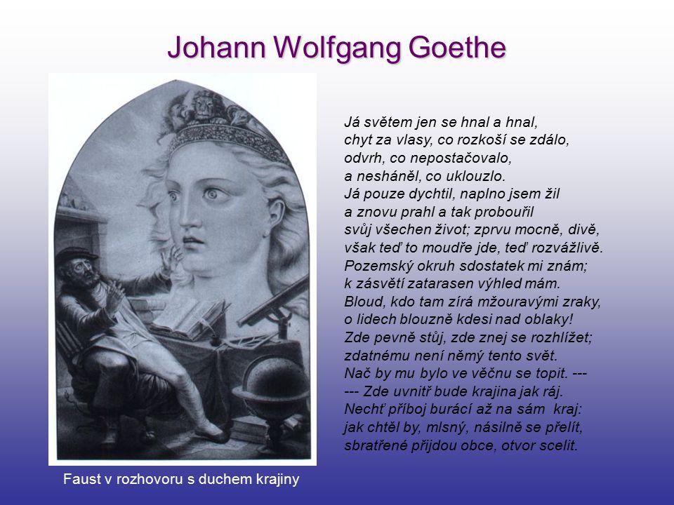 Johann Wolfgang Goethe Faust v rozhovoru s duchem krajiny Já světem jen se hnal a hnal, chyt za vlasy, co rozkoší se zdálo, odvrh, co nepostačovalo, a
