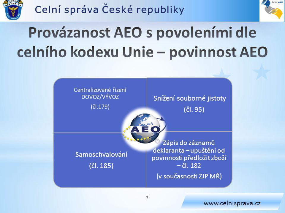 Celní správa České republiky www.celnisprava.cz Snížení souborné jistoty (čl.