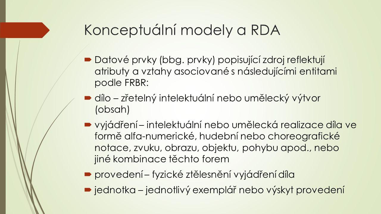 Konceptuální modely a RDA  Datové prvky (bbg. prvky) popisující zdroj reflektují atributy a vztahy asociované s následujícími entitami podle FRBR: 