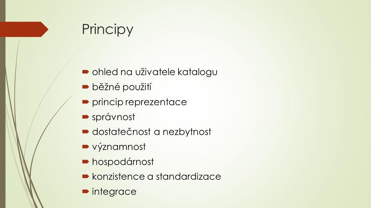Principy  ohled na uživatele katalogu  běžné použití  princip reprezentace  správnost  dostatečnost a nezbytnost  významnost  hospodárnost  ko