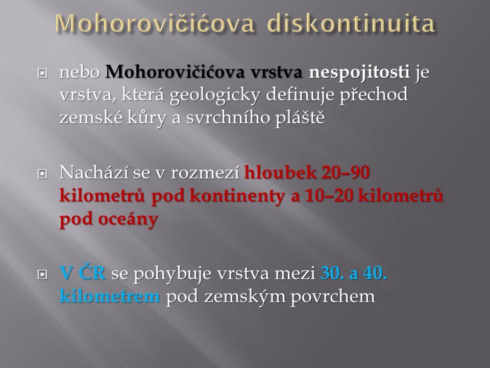  Jedná se o první významnou diskontinuitu v zemských obalech, na kterém dochází ke skokovému zrychlení pohybu seismických vln až přes rychlosti 8 km/s  Diskontinuita netvoří jednoduchou sférickou plochu, ale je místy zprohýbaná v závislosti na nadloží  Svůj název nese diskontinuita po chorvatském geofyzikovi Mohorovičićovi, který ji objevil v roce 1909 během výzkumů zemětřesení na Balkánském poloostrově