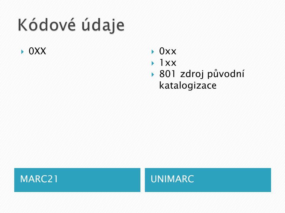 MARC21UNIMARC  0XX  0xx  1xx  801 zdroj původní katalogizace