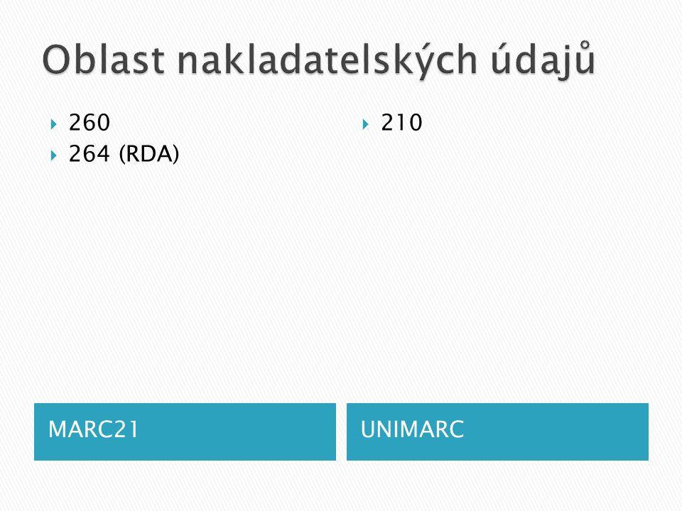 MARC21UNIMARC  260  264 (RDA)  210