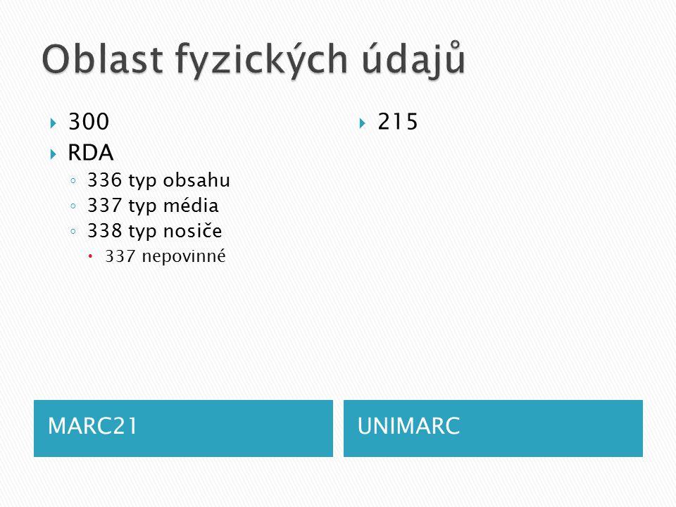 MARC21UNIMARC  300  RDA ◦ 336 typ obsahu ◦ 337 typ média ◦ 338 typ nosiče  337 nepovinné  215