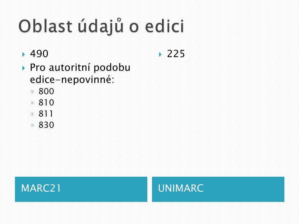 MARC21UNIMARC  490  Pro autoritní podobu edice-nepovinné: ◦ 800 ◦ 810 ◦ 811 ◦ 830  225