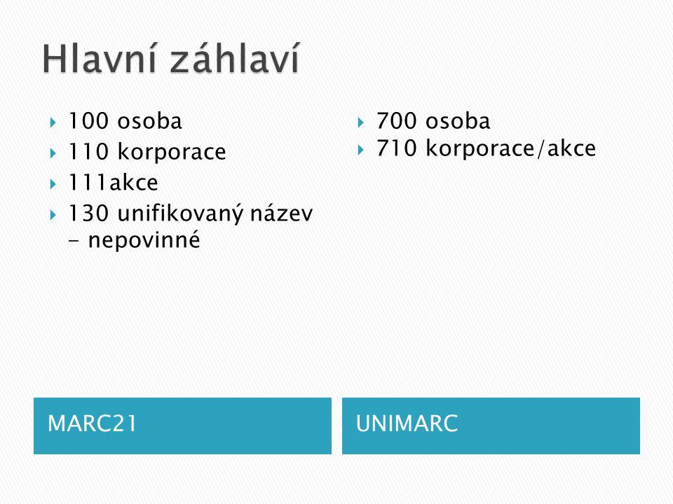 MARC21UNIMARC  100 osoba  110 korporace  111akce  130 unifikovaný název - nepovinné  700 osoba  710 korporace/akce