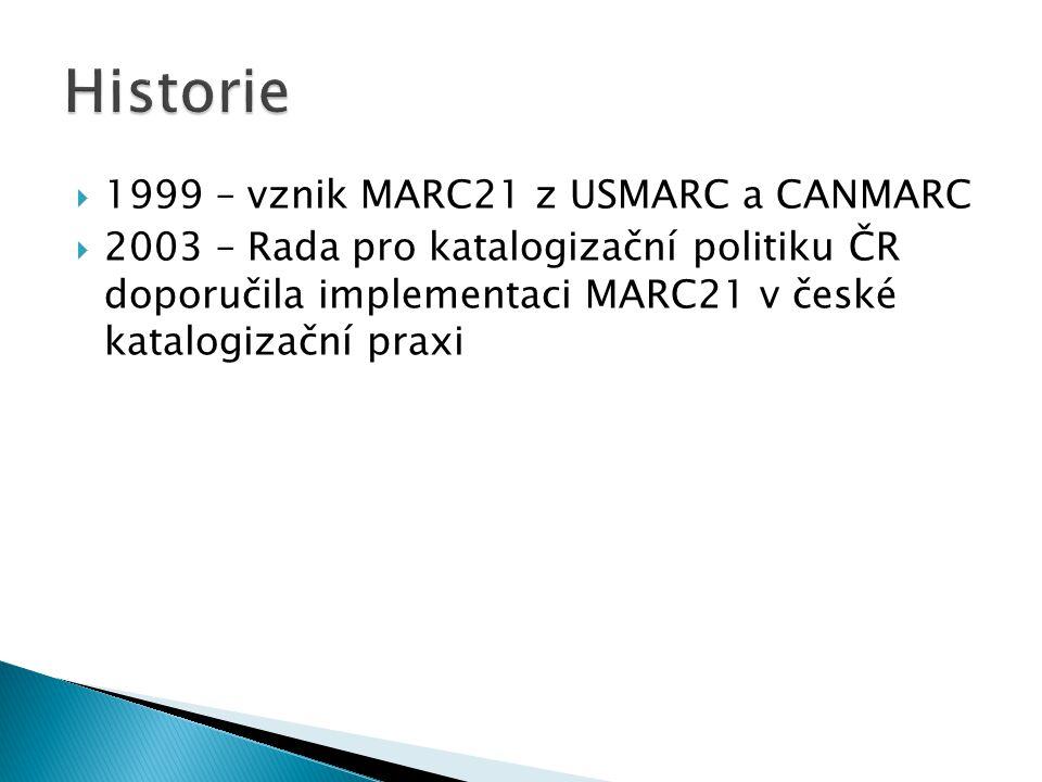  1999 – vznik MARC21 z USMARC a CANMARC  2003 – Rada pro katalogizační politiku ČR doporučila implementaci MARC21 v české katalogizační praxi