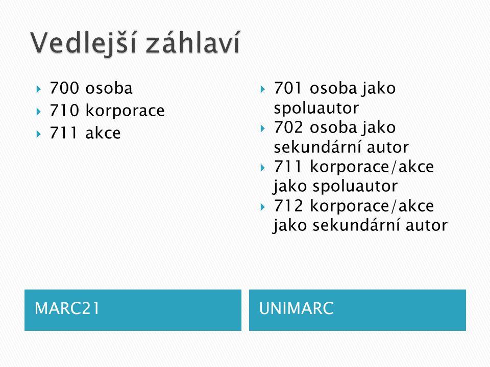 MARC21UNIMARC  700 osoba  710 korporace  711 akce  701 osoba jako spoluautor  702 osoba jako sekundární autor  711 korporace/akce jako spoluautor  712 korporace/akce jako sekundární autor