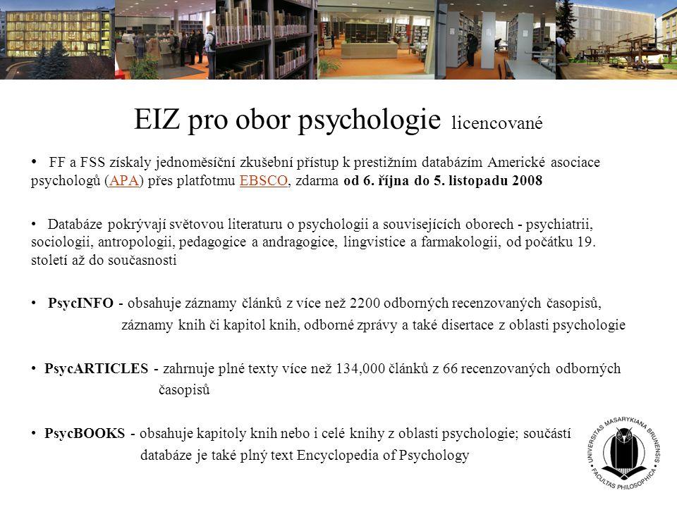 EIZ pro obor psychologie licencované FF a FSS získaly jednoměsíční zkušební přístup k prestižním databázím Americké asociace psychologů (APA) přes pla