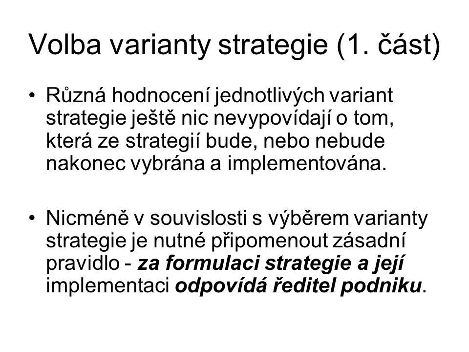 Volba varianty strategie (1. část) Různá hodnocení jednotlivých variant strategie ještě nic nevypovídají o tom, která ze strategií bude, nebo nebude n