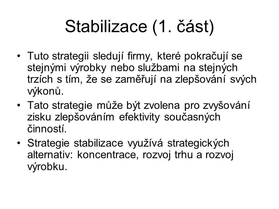 Stabilizace (1. část) Tuto strategii sledují firmy, které pokračují se stejnými výrobky nebo službami na stejných trzích s tím, že se zaměřují na zlep