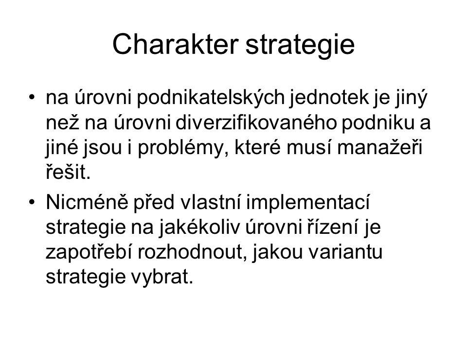 Charakter strategie na úrovni podnikatelských jednotek je jiný než na úrovni diverzifikovaného podniku a jiné jsou i problémy, které musí manažeři řeš