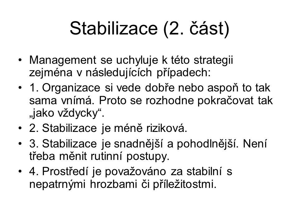 Stabilizace (2. část) Management se uchyluje k této strategii zejména v následujících případech: 1. Organizace si vede dobře nebo aspoň to tak sama vn