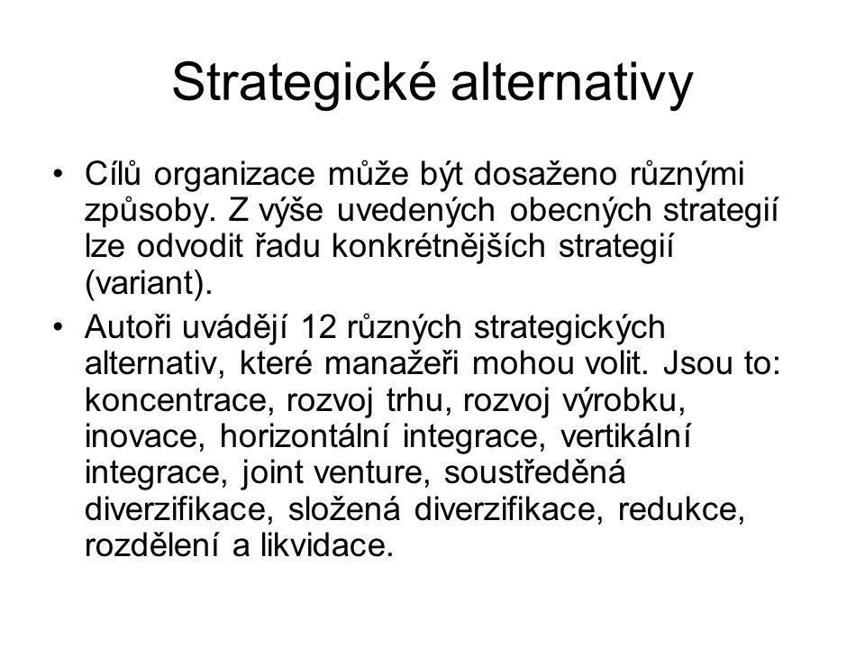 Strategické alternativy Cílů organizace může být dosaženo různými způsoby. Z výše uvedených obecných strategií lze odvodit řadu konkrétnějších strateg