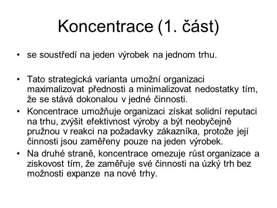Koncentrace (1. část) se soustředí na jeden výrobek na jednom trhu. Tato strategická varianta umožní organizaci maximalizovat přednosti a minimalizova