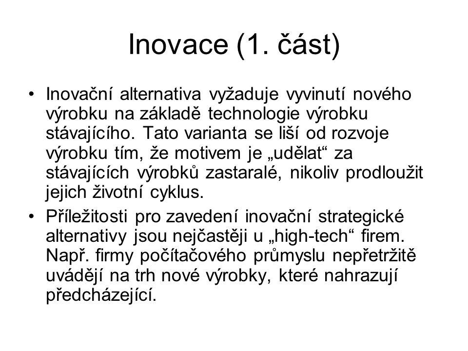 Inovace (1. část) Inovační alternativa vyžaduje vyvinutí nového výrobku na základě technologie výrobku stávajícího. Tato varianta se liší od rozvoje v