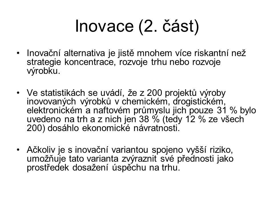 Inovace (2. část) Inovační alternativa je jistě mnohem více riskantní než strategie koncentrace, rozvoje trhu nebo rozvoje výrobku. Ve statistikách se