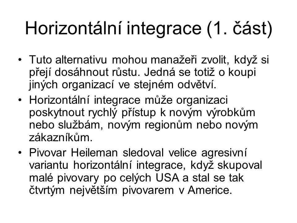 Horizontální integrace (1. část) Tuto alternativu mohou manažeři zvolit, když si přejí dosáhnout růstu. Jedná se totiž o koupi jiných organizací ve st