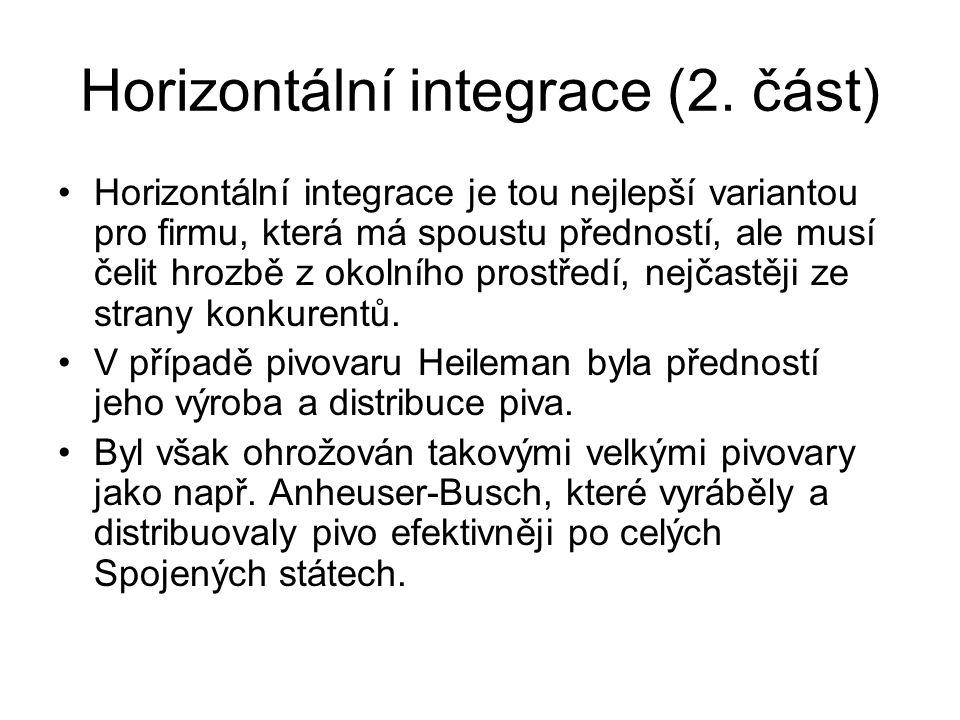 Horizontální integrace (2. část) Horizontální integrace je tou nejlepší variantou pro firmu, která má spoustu předností, ale musí čelit hrozbě z okoln