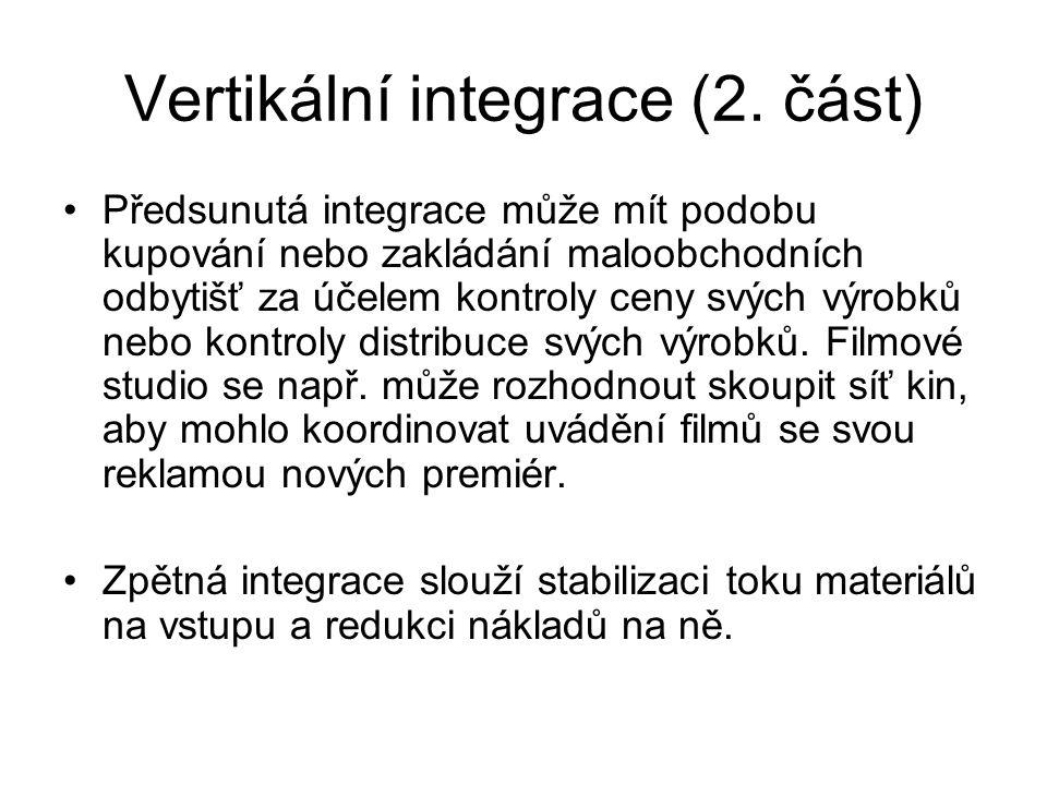 Vertikální integrace (2. část) Předsunutá integrace může mít podobu kupování nebo zakládání maloobchodních odbytišť za účelem kontroly ceny svých výro
