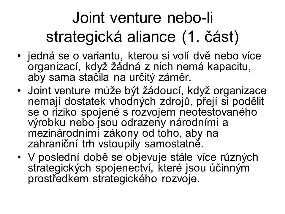 Joint venture nebo-li strategická aliance (1. část) jedná se o variantu, kterou si volí dvě nebo více organizací, když žádná z nich nemá kapacitu, aby