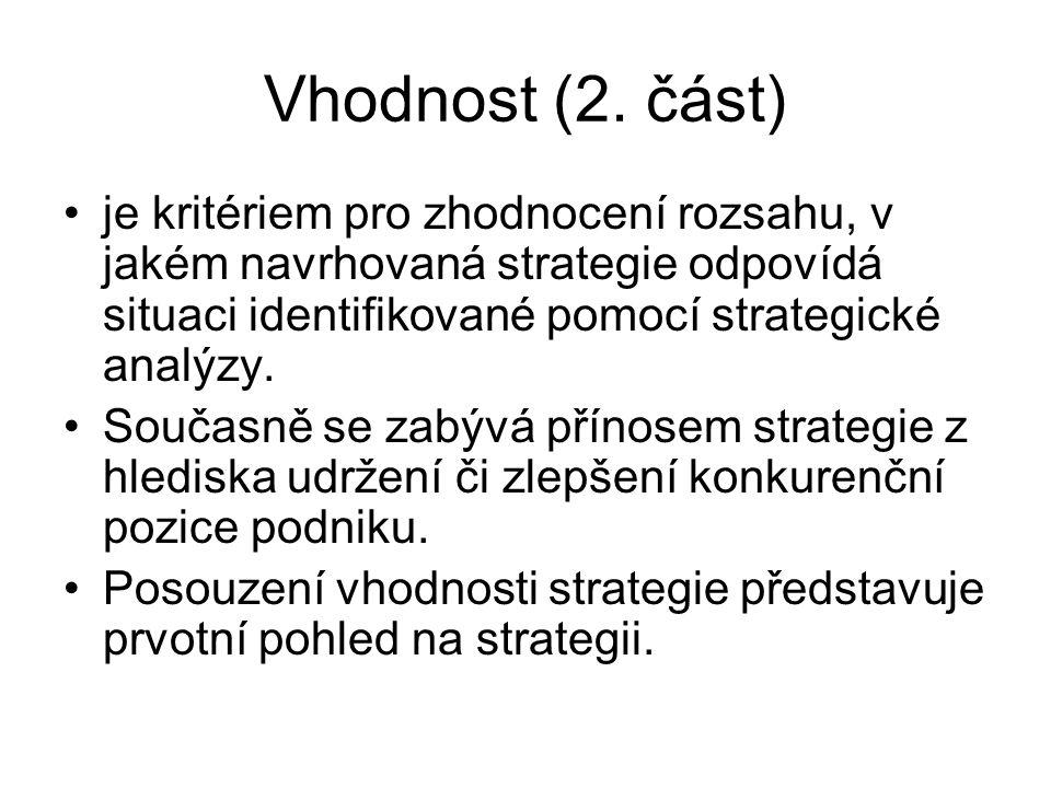 Vhodnost (2. část) je kritériem pro zhodnocení rozsahu, v jakém navrhovaná strategie odpovídá situaci identifikované pomocí strategické analýzy. Souča