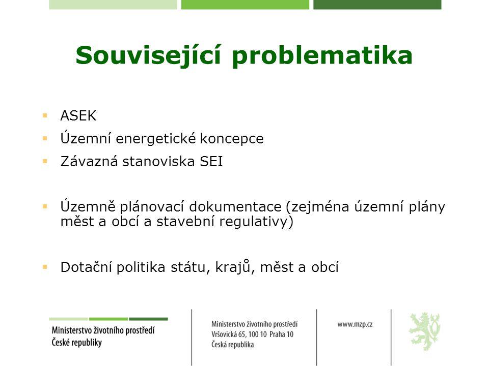 Související problematika  ASEK  Územní energetické koncepce  Závazná stanoviska SEI  Územně plánovací dokumentace (zejména územní plány měst a obcí a stavební regulativy)  Dotační politika státu, krajů, měst a obcí