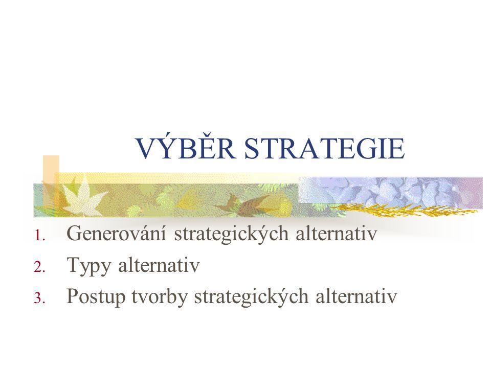 VÝBĚR STRATEGIE 1. Generování strategických alternativ 2. Typy alternativ 3. Postup tvorby strategických alternativ