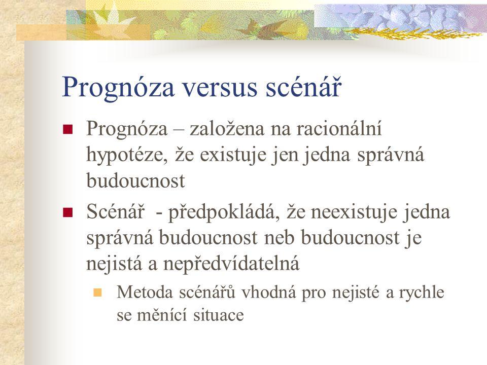 Prognóza versus scénář Prognóza – založena na racionální hypotéze, že existuje jen jedna správná budoucnost Scénář - předpokládá, že neexistuje jedna