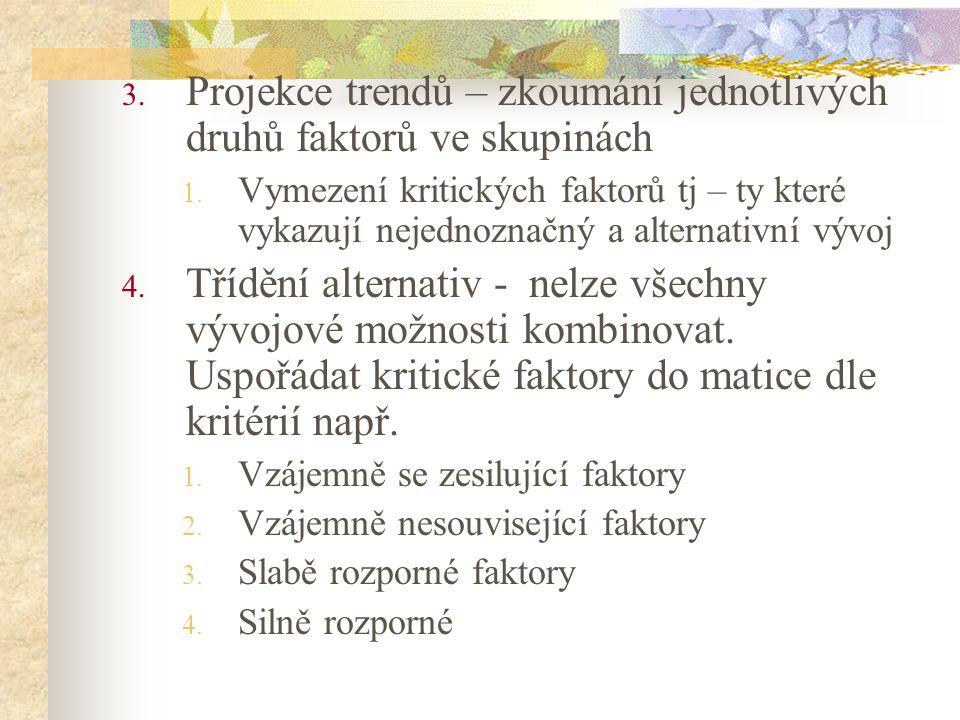 3. Projekce trendů – zkoumání jednotlivých druhů faktorů ve skupinách 1. Vymezení kritických faktorů tj – ty které vykazují nejednoznačný a alternativ