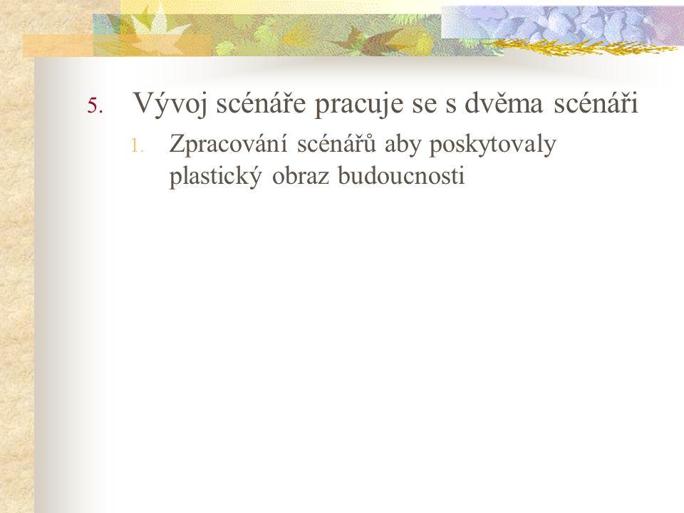5. Vývoj scénáře pracuje se s dvěma scénáři 1. Zpracování scénářů aby poskytovaly plastický obraz budoucnosti