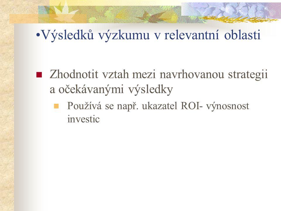 Výsledků výzkumu v relevantní oblasti Zhodnotit vztah mezi navrhovanou strategii a očekávanými výsledky Používá se např. ukazatel ROI- výnosnost inves