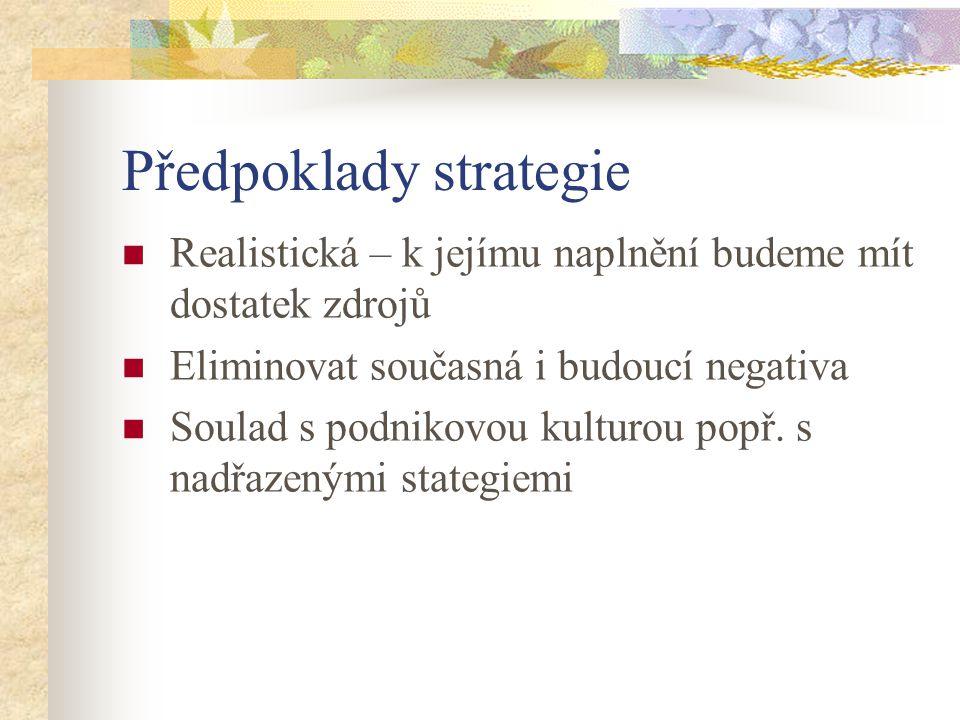 Předpoklady strategie Realistická – k jejímu naplnění budeme mít dostatek zdrojů Eliminovat současná i budoucí negativa Soulad s podnikovou kulturou p