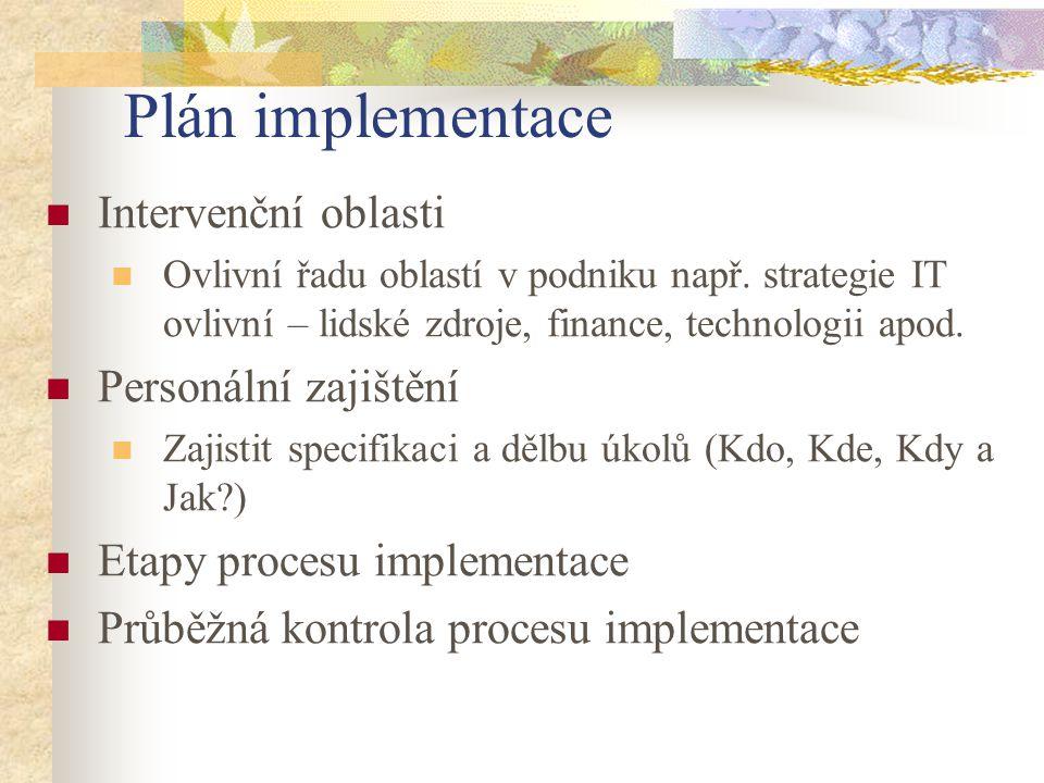 Plán implementace Intervenční oblasti Ovlivní řadu oblastí v podniku např. strategie IT ovlivní – lidské zdroje, finance, technologii apod. Personální