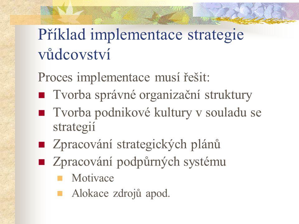 Příklad implementace strategie vůdcovství Proces implementace musí řešit: Tvorba správné organizační struktury Tvorba podnikové kultury v souladu se s