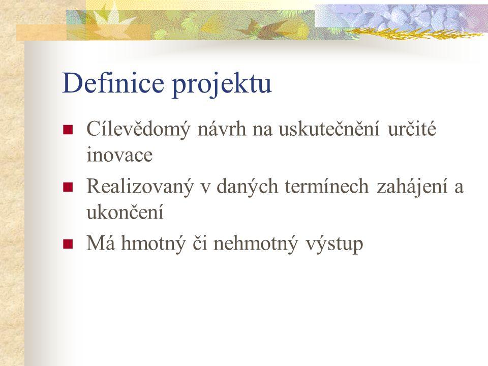 Definice projektu Cílevědomý návrh na uskutečnění určité inovace Realizovaný v daných termínech zahájení a ukončení Má hmotný či nehmotný výstup