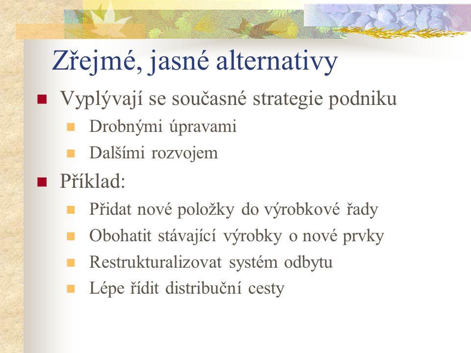 Zřejmé, jasné alternativy Vyplývají se současné strategie podniku Drobnými úpravami Dalšími rozvojem Příklad: Přidat nové položky do výrobkové řady Ob