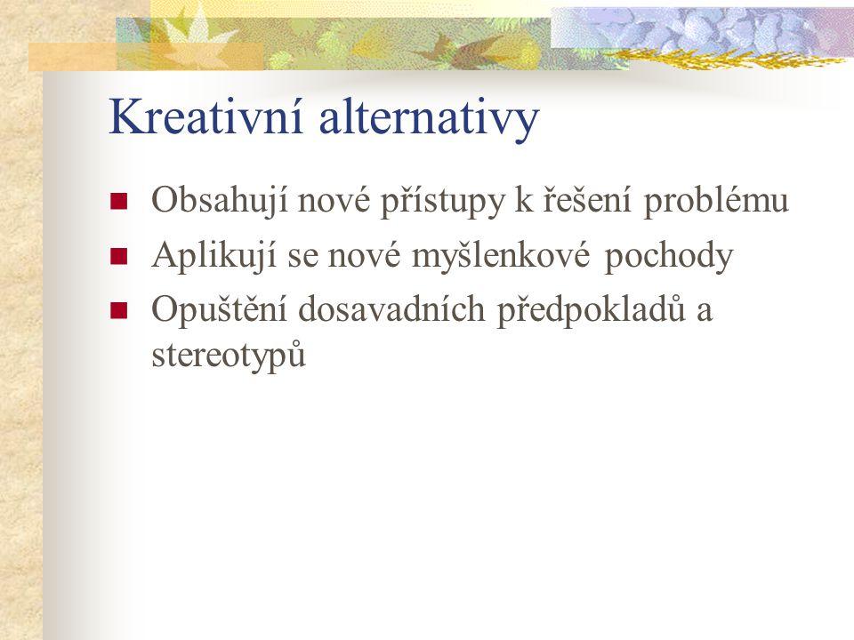 Kreativní alternativy Obsahují nové přístupy k řešení problému Aplikují se nové myšlenkové pochody Opuštění dosavadních předpokladů a stereotypů