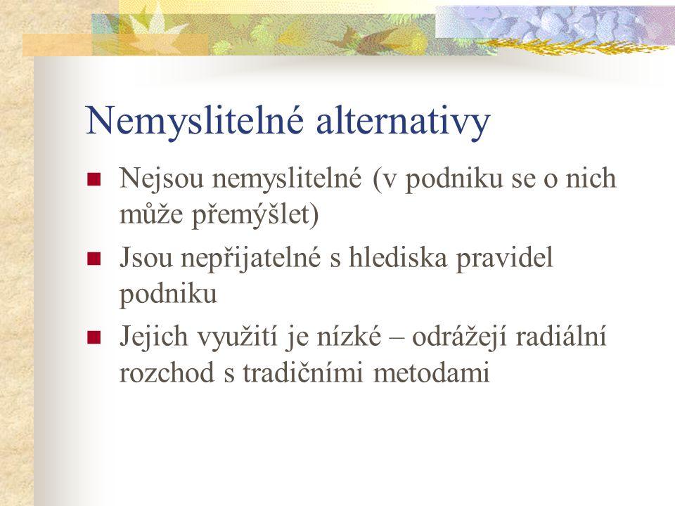 Alternativy identifikují možnosti Tyto možnosti musí být objektivně zhodnoceny zda jsou přínosem Alternativy by měly být nepřetržitě prověřovány
