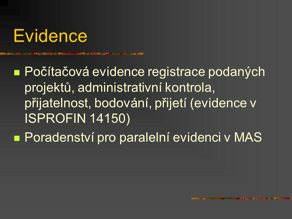 Evidence Počítačová evidence registrace podaných projektů, administrativní kontrola, přijatelnost, bodování, přijetí (evidence v ISPROFIN 14150) Poradenství pro paralelní evidenci v MAS