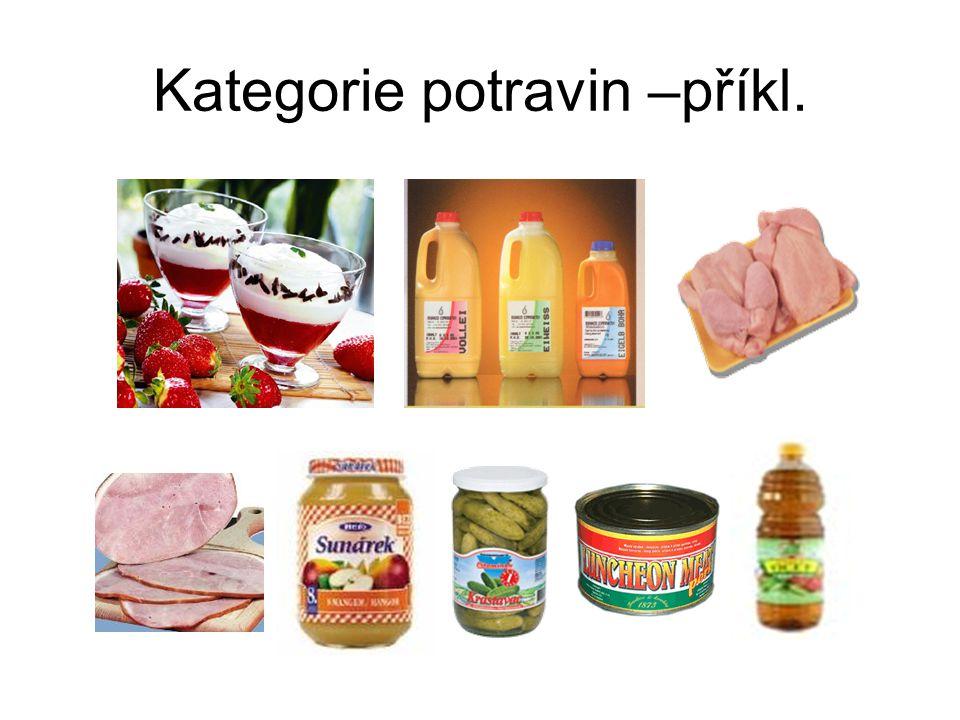 Kategorie potravin –příkl.
