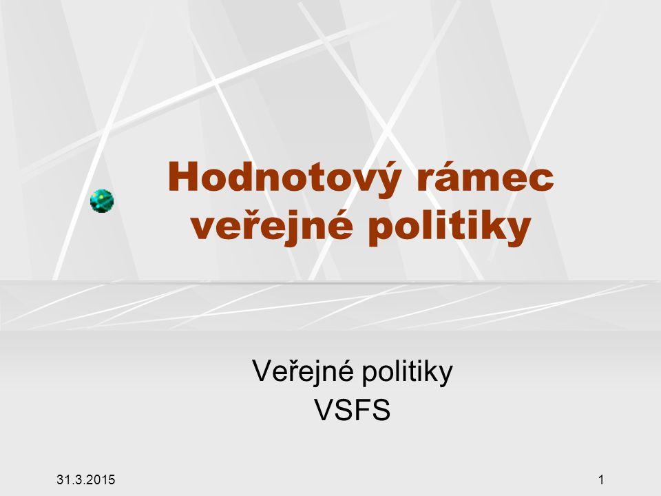 31.3.20151 Hodnotový rámec veřejné politiky Veřejné politiky VSFS