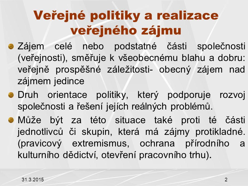 Veřejné politiky a realizace veřejného zájmu Zájem celé nebo podstatné části společnosti (veřejnosti), směřuje k všeobecnému blahu a dobru: veřejně prospěšné záležitosti- obecný zájem nad zájmem jedince Druh orientace politiky, který podporuje rozvoj společnosti a řešení jejích reálných problémů.