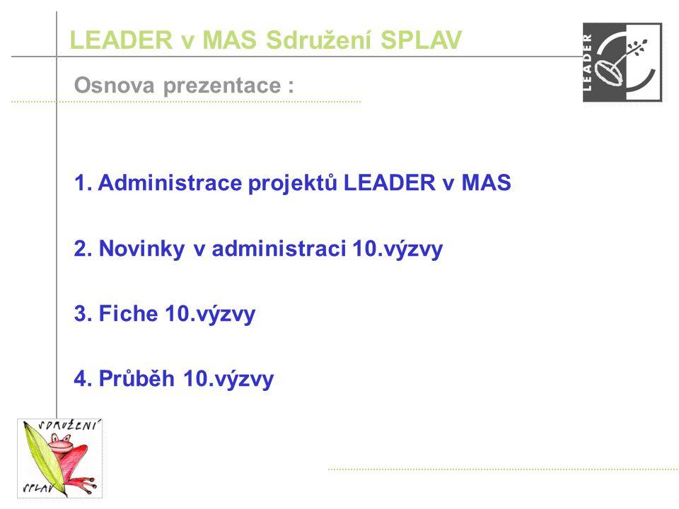 LEADER v MAS Sdružení SPLAV Osnova prezentace : 1.
