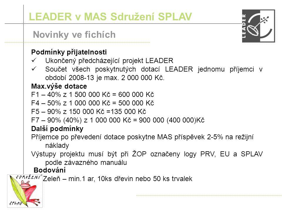 Podmínky přijatelnosti Ukončený předcházející projekt LEADER Součet všech poskytnutých dotací LEADER jednomu příjemci v období 2008-13 je max.