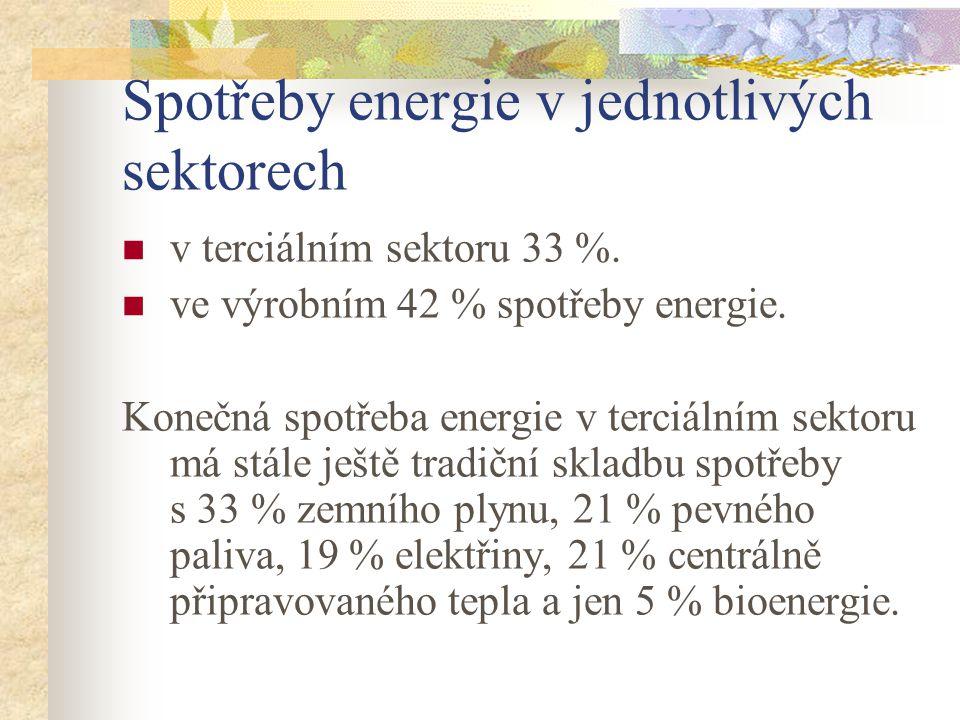 Spotřeby energie v jednotlivých sektorech v terciálním sektoru 33 %.